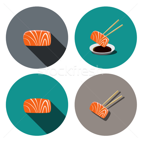 Set of sashimi salmon icon in flat style, vector Stock photo © jiaking1