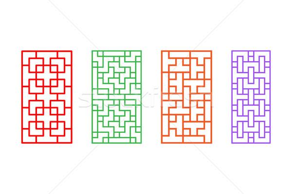 Szett téglalap kínai minta ablakkeret vektor Stock fotó © jiaking1