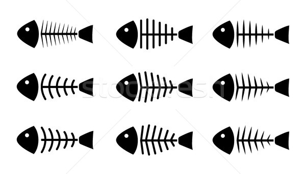 Stok fotoğraf: Ayarlamak · balık · kemik · simgeler · vektör · dizayn