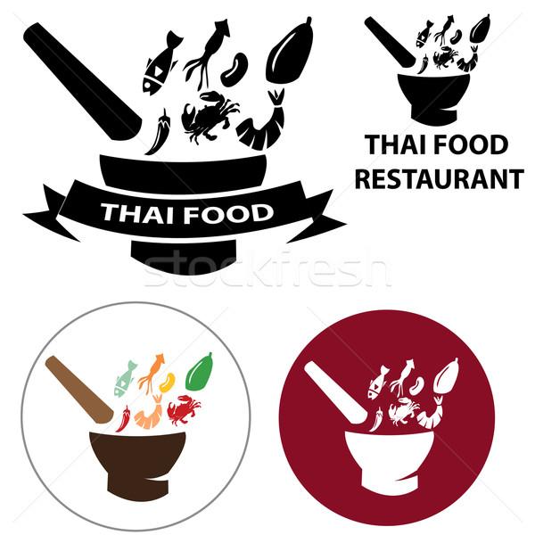 セット タイ料理 レストラン ロゴ 食品 魚 ストックフォト © jiaking1