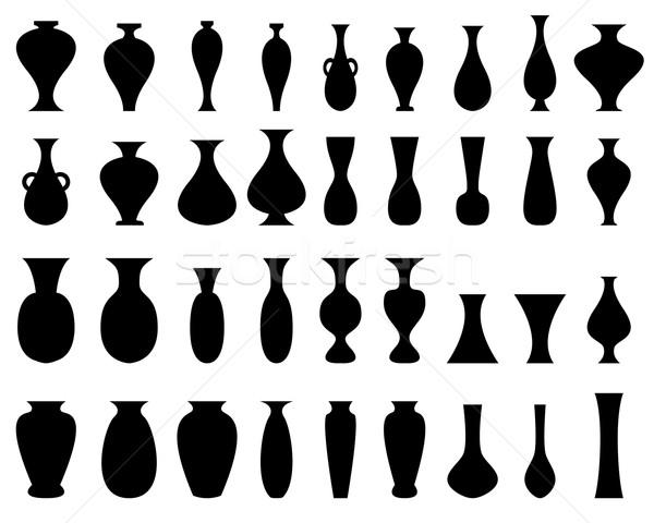 Negro silueta jarrón establecer blanco aislado Foto stock © jiaking1