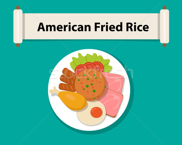 American fried rice in flat style,Top view, vector Stock photo © jiaking1