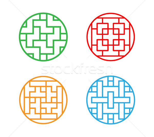 Set of Circle Korean pattern window frame Stock photo © jiaking1