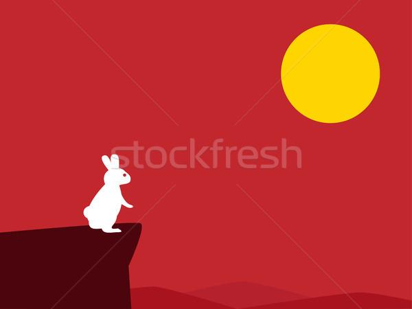 Blanche lapin falaise rouge lune gâteau Photo stock © jiaking1