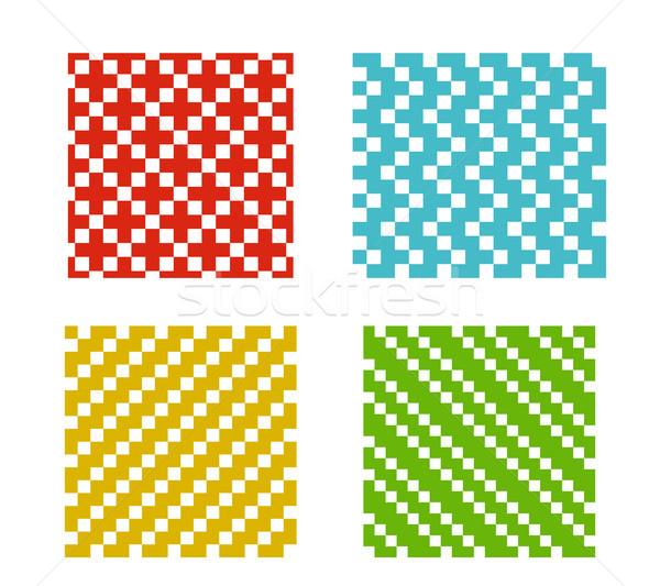 Set of Simple Seamless pixel pattern on white Stock photo © jiaking1