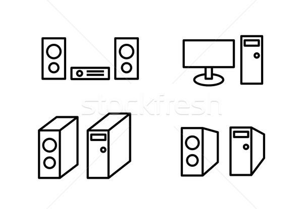 Set icona speaker monitor computer caso Foto d'archivio © jiaking1