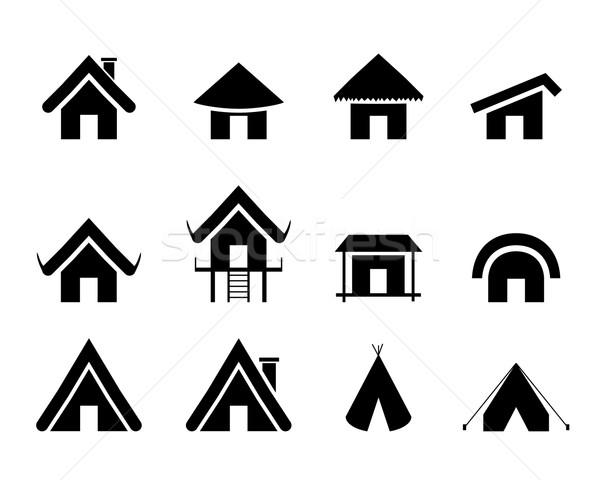 Zestaw tradycyjny domu ikona minimalny domu Zdjęcia stock © jiaking1