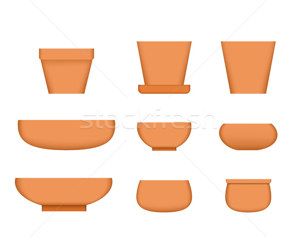 Bonsai tree pot in realistic style, Clay plant pot Stock photo © jiaking1