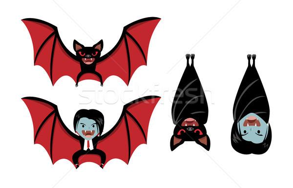 Foto stock: Vampiro · bat · branco · vetor · desenho · animado