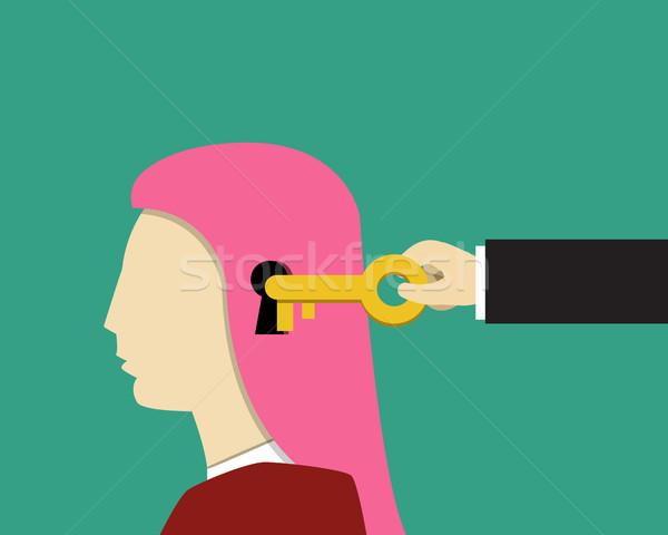 Dziewczyna kobiet psychologia przeczytać twarz streszczenie Zdjęcia stock © jiaking1