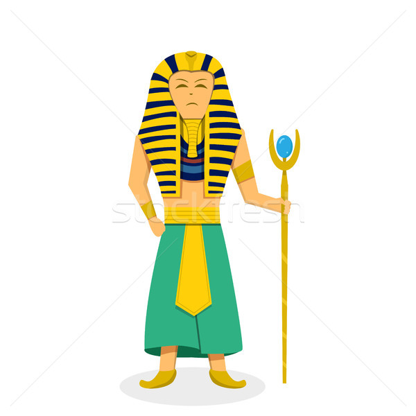 King Pharaoh on white in flat style, vector Stock photo © jiaking1