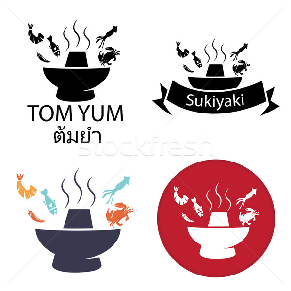 Miam épicé chaud pot logo icône Photo stock © jiaking1