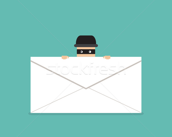 Thief hide behind phishing mail, vector Stock photo © jiaking1