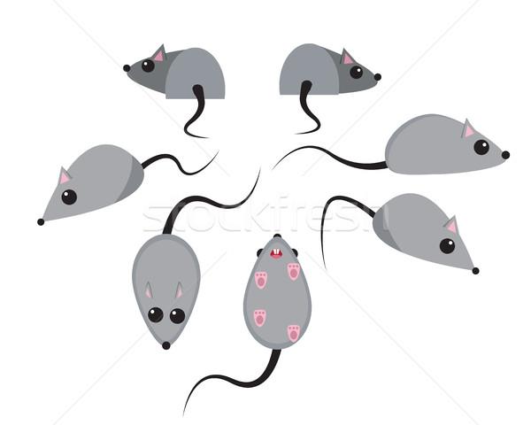 Szett patkány stílus vektor vicces állat Stock fotó © jiaking1