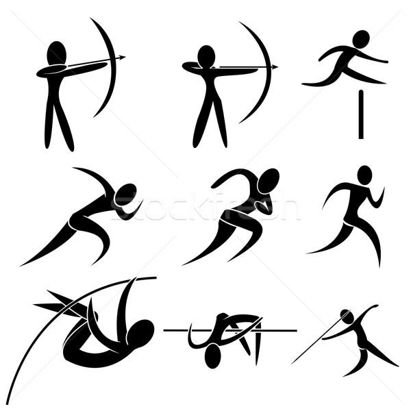Szett sport ikon íjászat nő munka Stock fotó © jiaking1