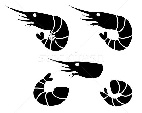 Shrimp and prawn icons, vector object Stock photo © jiaking1
