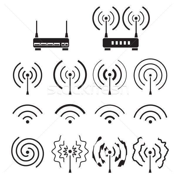 Ensemble wifi sans fil signal vague technologie Photo stock © jiaking1