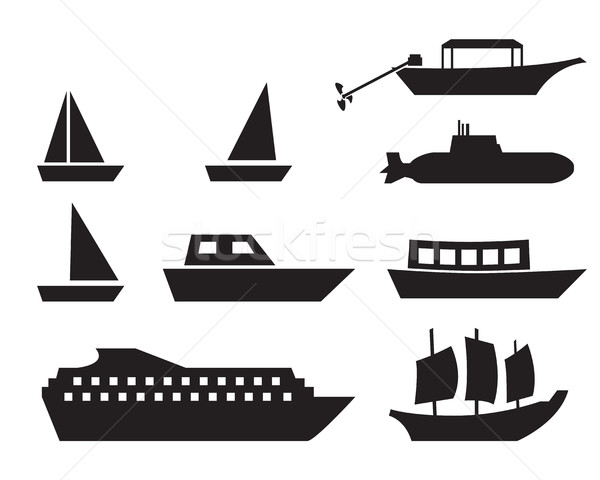 Ship and boat icons in simple style, vector Stock photo © jiaking1