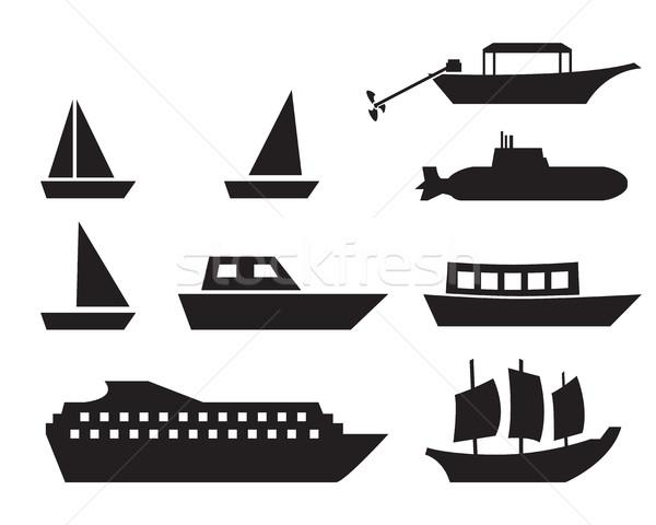 Buque barco iconos simple estilo vector Foto stock © jiaking1