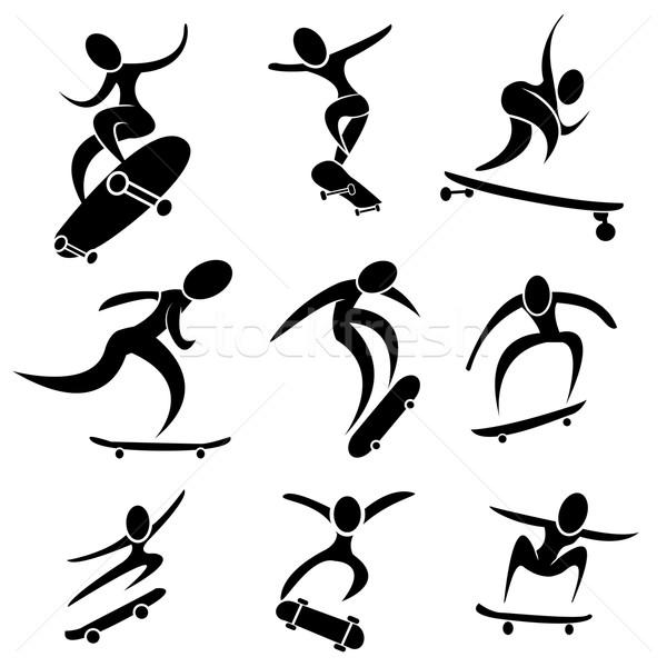 Set of skateboard icon in action Stock photo © jiaking1