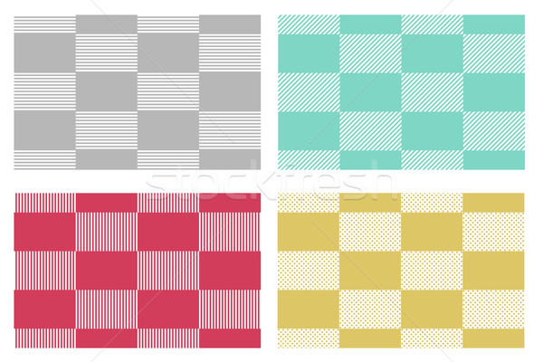 Set of modern checkered tablecloths patterns in japanese style Stock photo © jiaking1