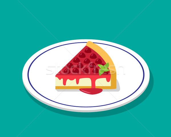 Strawberry cheese cake in 3D cartoon style, vector Stock photo © jiaking1