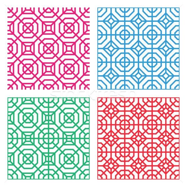 Seamless Geometric tracery pattern in Indian style Stock photo © jiaking1