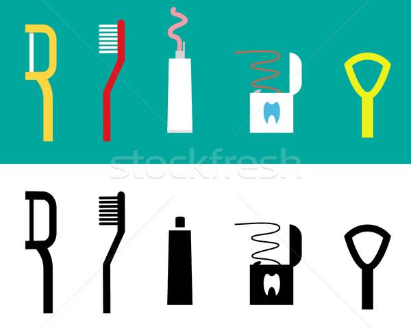Set Zahnpflege Tool Symbol Vektor Design Stock foto © jiaking1