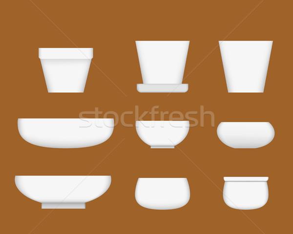 Fehér kerámia tál valósághű stílus vektor Stock fotó © jiaking1