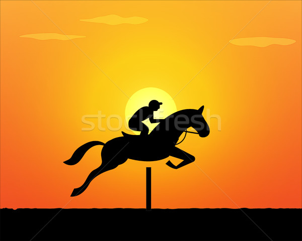 Horse Jumping in sunset time. vector Stock photo © jiaking1