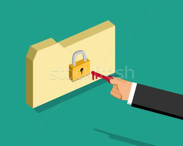 заблокированный папке деловой человек ключевые вектора дизайна Сток-фото © jiaking1