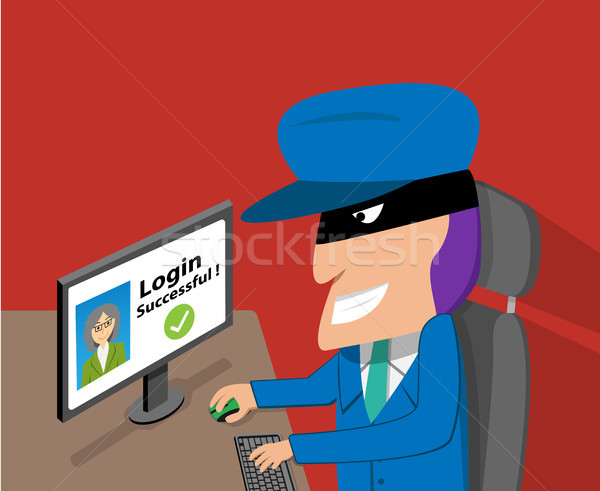 Senior woman was hacked account by hacker, vector Stock photo © jiaking1