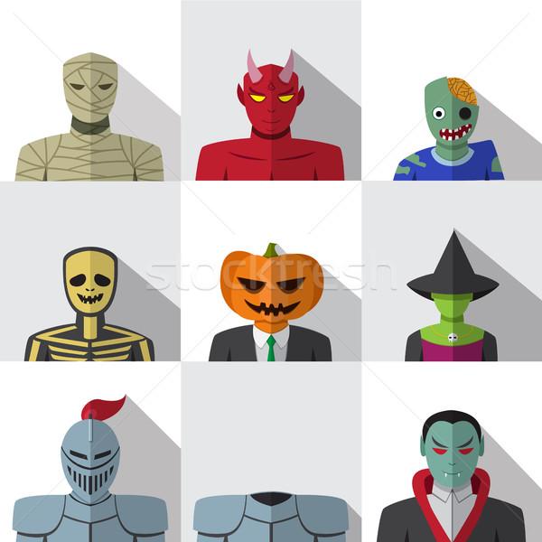 Szett emberek halloween jelmez ikon szett ikonok Stock fotó © jiaking1
