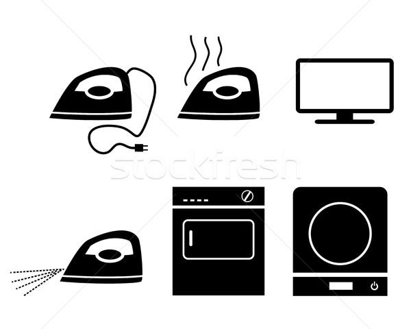 Elektromos tűzhely vasaló tv ikonok vektor Stock fotó © jiaking1