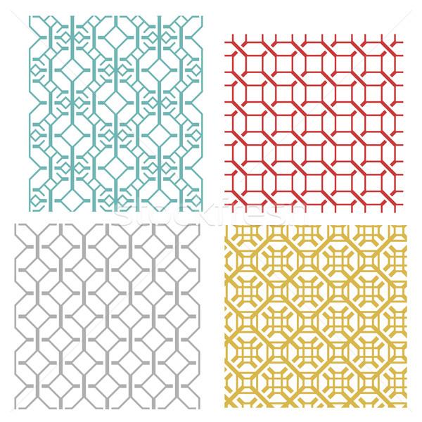 Geometric seamless weave line pattern Stock photo © jiaking1