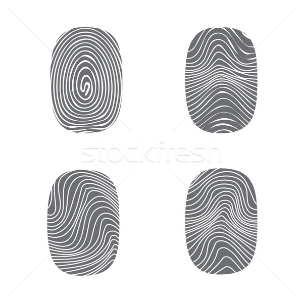 Set of fingerprint in black silhouette on white Stock photo © jiaking1