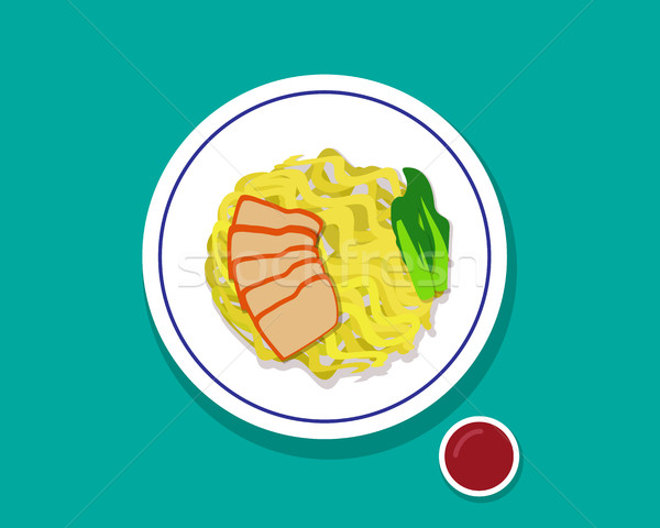 Dry Egg noodle soup with red roast pork, Top view Stock photo © jiaking1