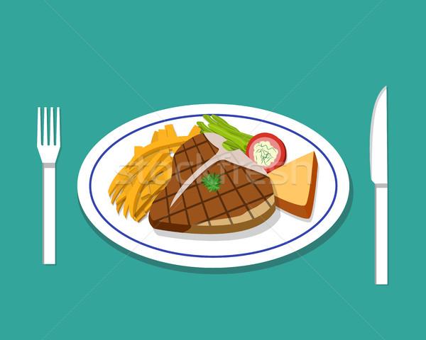 Steak sültkrumpli edény vektor étel terv Stock fotó © jiaking1