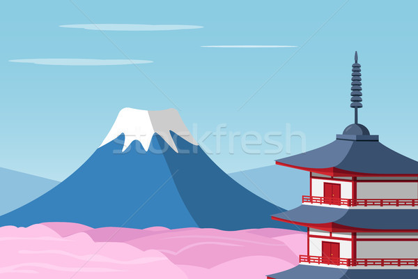 Mount Fuji and Arakura Sengen Jinja Shinto shrine Stock photo © jiaking1