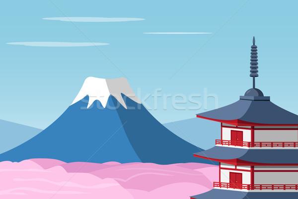 Monte Fuji shinto santuario vettore fiore panorama Foto d'archivio © jiaking1