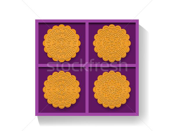 Çin ay kek hediye kutusu üst görmek Stok fotoğraf © jiaking1