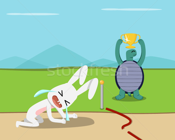 Tortoise win, Rabbit lose at finish line, vector Stock photo © jiaking1