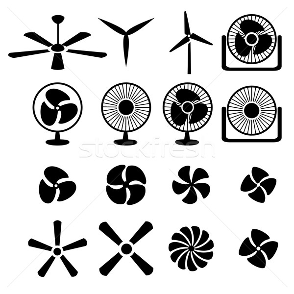Set of fans and propellers icons Stock photo © jiaking1