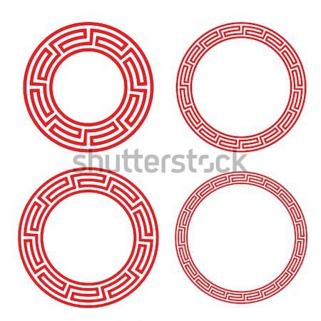 Klasszikus kínai piros kör ablak fényképkeret Stock fotó © jiaking1
