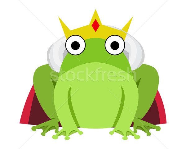 Stock photo: King frog with red cape and crown