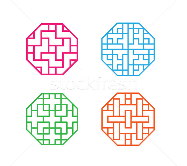 Set of octagon Korean pattern window frame Stock photo © jiaking1