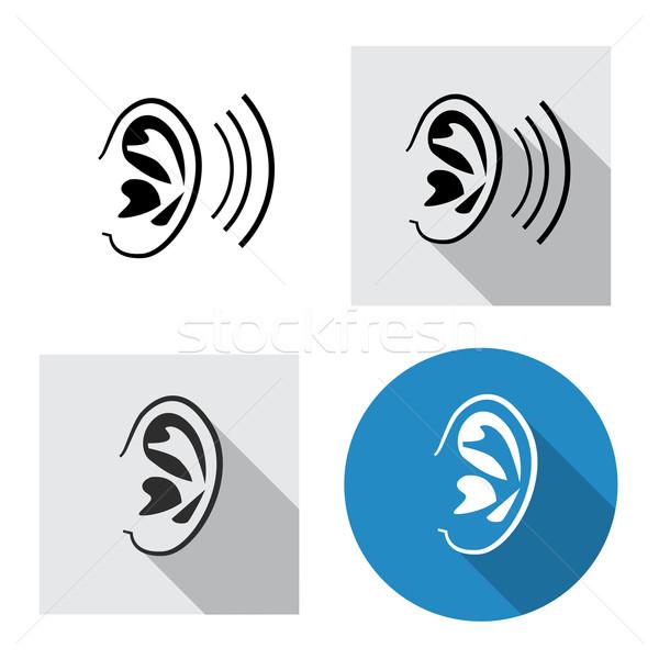 Set orecchio icona vista laterale lineare stile Foto d'archivio © jiaking1