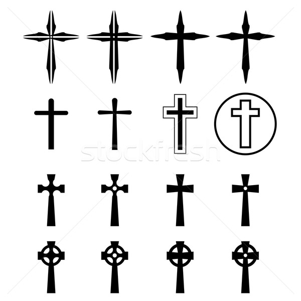 Set of crucifix and cross silhouette in modern Stock photo © jiaking1