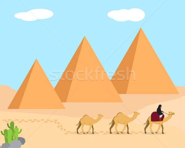Travel in desert land of Giza, Egypt Stock photo © jiaking1
