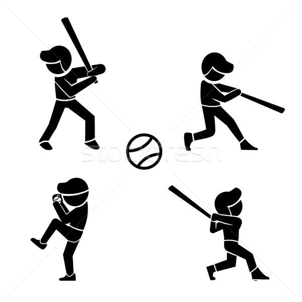 Ayarlamak beysbol simgeler siluet stil vektör Stok fotoğraf © jiaking1